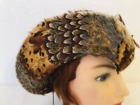 Vintage Jack Mcconnell Boutique Beige Wool Hat & Beautiful Feathers Derby Church