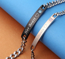 Pair His Beauty and Her Beast Stainless Steel Matching Bracelet Couple Gift Set