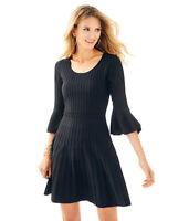 NWT Lilly Pulitzer Brandi Sweater Dress Onyx Mid Length Flared Black Size Large