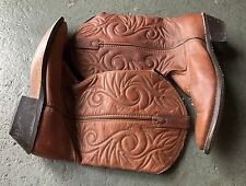 WOMAN'S 7.5 BROWN TAN LEATHER WESTERN COWBOY BOOTS SHOES EUC 👌✌️💗💗💗💗💗💗💗
