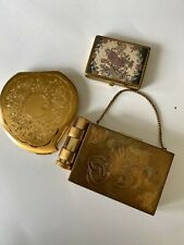 Vintage Makeup  Compacts Ornate Victorian Brass Mirror Elgin American Lot Of 3