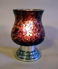 VASE MOSAIC STAINED GLASS HURRICANE PILLAR CANDLE HOLDER PURPLE/RED