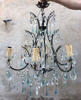 Ancien Lustre cage avec pampilles et gouttes en verre bleues Murano ?