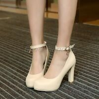 Ladies Womens Ankle Strap Mid Heel Round Toe Pumps Court Shoes UK Size 1--8 V887