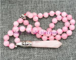 "18"" Hexagonal Gemstone Healing Chakra Reiki Pink quartz Pendant Necklace"