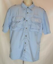 Men's Natural Gear Vented Fishing Shirt Sz M Short Sleeve Blue Button Front
