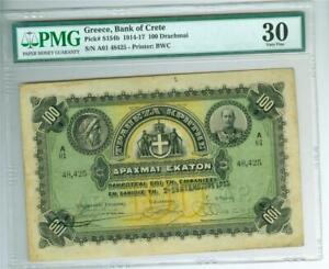 GREECE Bank of Crete 1915 100 Drachmai P-S154b PMG VF-30 VERY FINE. SCARCE TYPE.