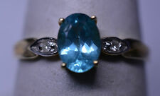 NEW NWT 10K YELLOW GOLD .80 CARAT OVAL APATITE RING W/ DIAMOND ACCENTS SIZE 7.25