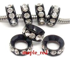 30 pcs BLACK Inlay Crystal Copper Spacer Big Hole Bead for European Bracelet