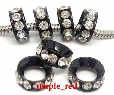 30pcs BLACK Inlay Crystal Copper Spacer Big Hole Beads for European Bracelet
