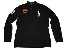 Polo Ralph Lauren Big Pony Black Spain Flag Long Sleeve Rugby Shirt L
