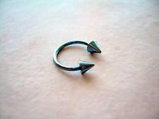 "Horseshoe Spike Light Blue Titanium Eyebrow Lip Tragus Ear 16g 3/8"" Piercing"
