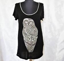 AUTHENTIC SAINT TROPEZ OWL BLACK LINEN BLEND WOMEN'S TUNIC BLOUSE-SIZE:S