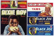 5 ORIGINAL CRATE LABELS VINTAGE BLACK AMERICANA 1940-1960S DIXIE BOY ADVERTISING