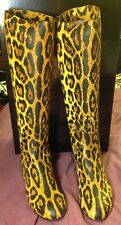 GIUSEPPE ZANOTTI Leather Leopard Flat Boots Made In Italy Brand New NIB 38