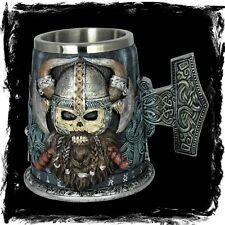Wikinger Krug - Schädel - Fantasy Gothic Vikings  Geschenk Bier Deko Krieger
