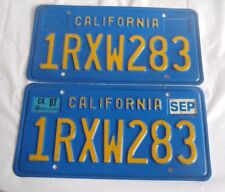 1987 California license Plates 1RXW283 pair