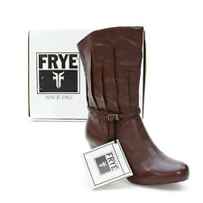 NEW Fry Ladies 8 M Lisa 8L Pleated Nap Brown Leather Pull on Western Heels Boots