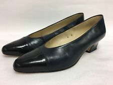 ETIENNE AIGNER Black Navy Leather ANN MARIE Heels Pumps Shoes Womens size 9 M
