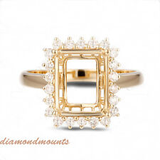 8x10MM Emerald Cut Solid 14k Yellow Gold Natural Diamond Semi Mount Ring Setting