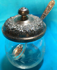S. Kirk & Son STERLING SILVER AND CRYSTAL/GLASS JAM JAR WITH SPOON