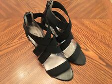 CARLOS SANTANA Globetrotter Black Leather/Canvas High Heel Gladiator Shoes Sz 7M
