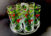 6 VNTG Retro Christmas Drink Glasses Tumblers With Glass Caddy Holder 10 Oz