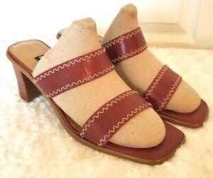 Vintage Etienne Aigner Womens Size 9M Oxblood Red Leather Slides Strappy Sandals