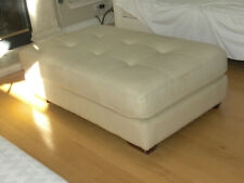 Faux Leather Ivory Ottoman