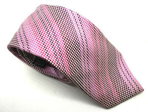 """Men's Tie New & Lingwood Pink Check Striped 100% Silk 3"""" Wide 63"""" Long"""