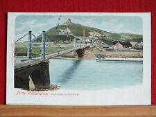 Autochrom-Karte - Porta Westphalica - Weserbrücke + Denkmal - gel 1908   m1