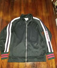 100% Authentic Gucci Mens Technical Jersey Track Jacket Black Size Medium Used