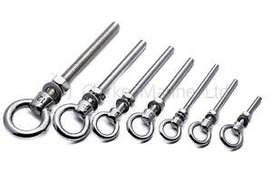A4 316 Marine grade stainless steel lifting eye bolt longshank nut M6 M8 M10 M12
