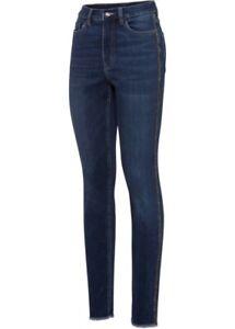 Jeans skinny KurzGr 54 L30 darkblue used Stretchjeans Glitzer-Seitenstreifen neu
