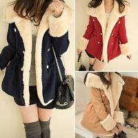 Fashion Women Winter Warm Double-Breasted College Wind Wool Blend Jacket Coat