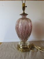 Murano glass Barovier and Toso mid century lavendar and silver  table lamp