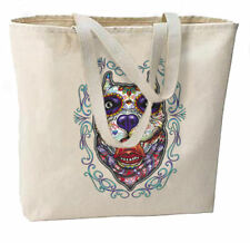 Sugar Skull Pit Dog New Large Canvas Tote Bag Travel Events Day of Dead