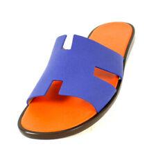 HERMES NIB Ultramarine Blue Epsom & Orange IZMIR Logo Slide Sandals 46