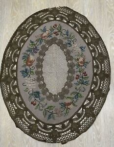 Antique Embroidery Metallic Lace Tambour Victorian 19th Century 1850s Table Old