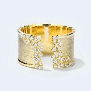 Fashion 18k Gold Plated Rings for Women White Sapphire Wedding Jewelry Size 6-10