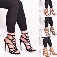 Ladies Womens High Heel Sandal Fashion Party Zip Peep Toe Evening Shoes Size 3-8