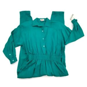 Vtg 80s 90s Romper Jumpsuit One Piece Green Money Womens Sz Medium NWT 100% Silk