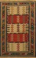 Flat-weave Sumak Kilim Geometric Oriental Area Rug Traditional Tribal Carpet 4x6