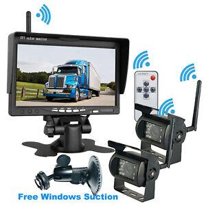 "Wireless Digital System 7"" Monitor+Dual Reverse Camera For Truck Caravan Trailer"