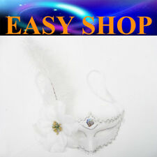 Women White Lady Feather Mask Costume Masquerade Cosplay Party Venetian Ball Eye