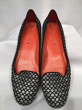 "NWOB VIA SPIGA ""Edina"" Silver Black Metallic Round Toe Loafers  Flats sz 8.5"