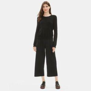 NWT $198 Eileen Fisher Wide-Leg Pleated Poplin Pants XL fit 1X? Organic Cotton
