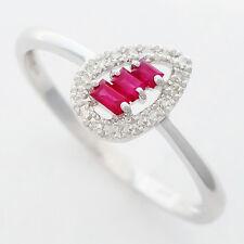 RUBY DIAMOND RING. 3 NATURAL RUBIES + 18 GENUINE DIAMONDS .SOLID 9K WHITE GOLD.