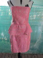 Portmans Sz 14 Au Floral Net Print Strapless Dress-Elastic+Zip Rear, Lined+VGC