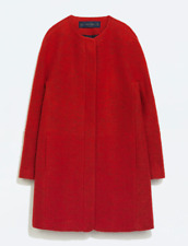 ZARA BASIC WOMENS LONG RED TEXTURED WOOL KNIT JACKET COAT 2026/260 2 4 6 S SMALL
